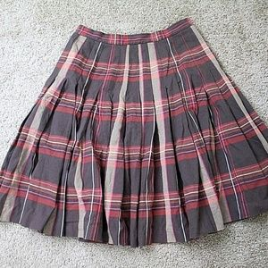 Lilly Pulitzer Plaid Pleated Skirt Women's 6 Brown